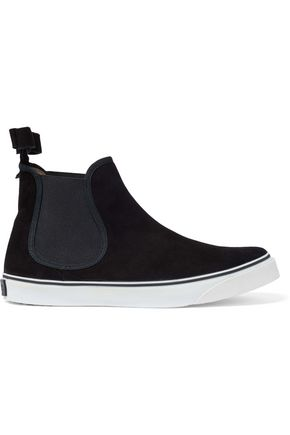 RED(V) Bow-detailed suede slip-on high-top sneakers