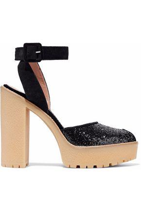 REDValentino Glittered suede platform sandals