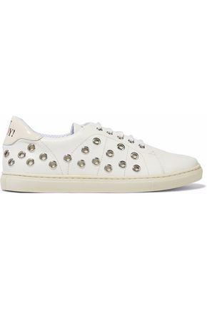 REDValentino Eyelet-embellished leather sneakers