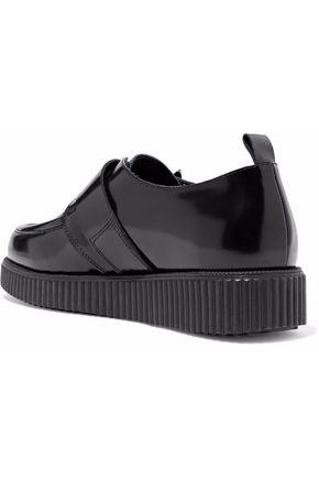 RED(V) Buckle-embellished glossed-leather platform loafers