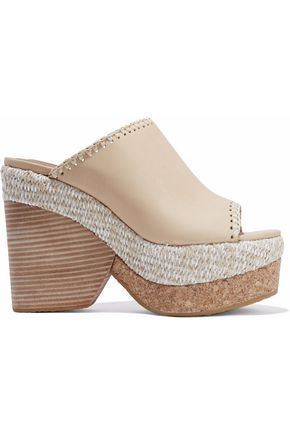 SEE BY CHLOÉ Whipstitched leather platform mules