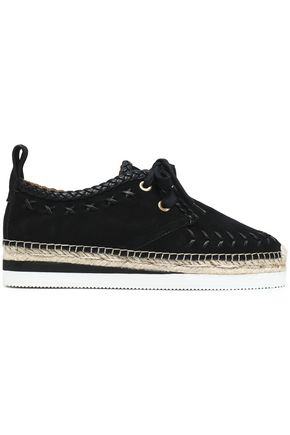 SEE BY CHLOÉ Leather-trimmed suede platform espadrille sneakers