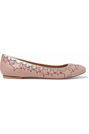 REDValentino Embroidered smooth and metallic textured-leather ballet flats