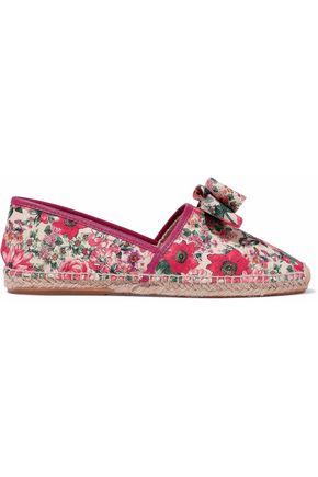 RED(V) Bow-embellished leather-trimmed floral-print canvas espadrilles