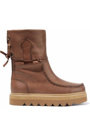 SEE BY CHLOÉ Whipstitched leather boots