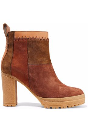 SEE BY CHLOÉ Claudia patchwork nubuck ankle boots