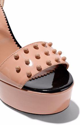 RED(V) Studded patent-leather platform sandals