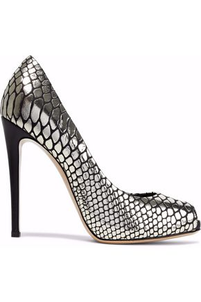 GIUSEPPE ZANOTTI Snake-effect mirrored-leather pumps
