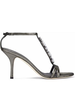 GIUSEPPE ZANOTTI Crystal-embellished metallic woven sandals