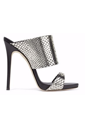 GIUSEPPE ZANOTTI Andrea snake-effect mirrored-leather mules