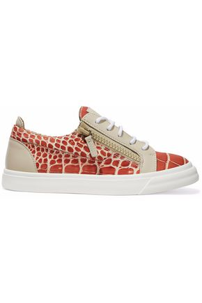 GIUSEPPE ZANOTTI London croc-effect leather sneakers