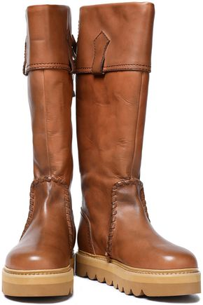 SEE BY CHLOÉ Whipstitched leather knee boots