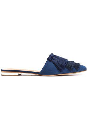 SCHUTZ Tasseled nubuck slippers