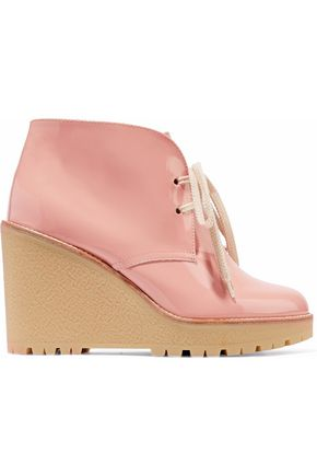 RED(V) Patent-leather wedge ankle boots