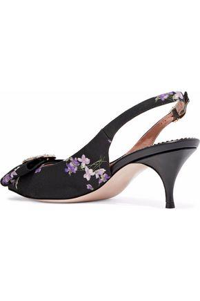 REDValentino Bow-embellished floral-print canvas slingback pumps