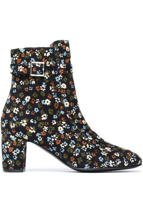 NEWBARK Printed corduroy ankle boots