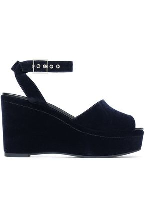 NEWBARK Velvet wedge sandals