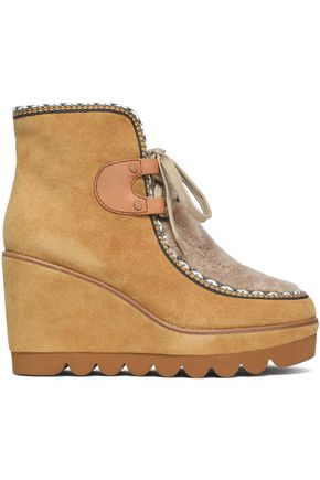 SEE BY CHLOÉ Shearling-paneled suede wedge ankle boots