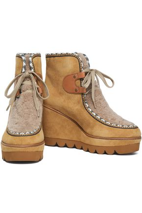 Shearling paneled suede wedge ankle boots   SEE BY CHLOÉ