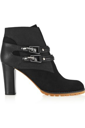 SEE BY CHLOÉ Buckled leather-paneled suede ankle boots