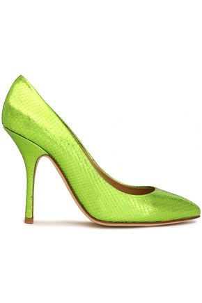 GIUSEPPE ZANOTTI DESIGN Glossed snake-effect leather pumps