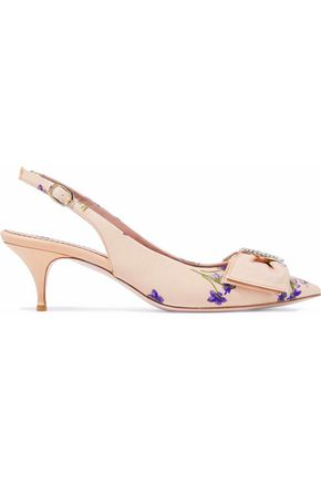 REDValentino Bow-embellished floral-print canvas slingback pumps