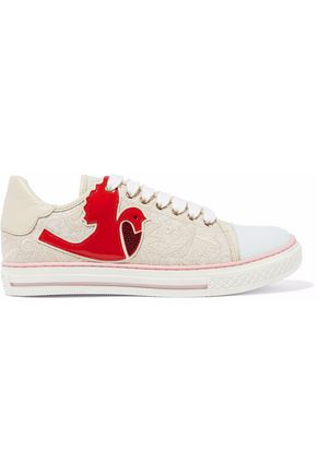 Leather Trimmed Embellished Canvas Sneakers by Red Valentino