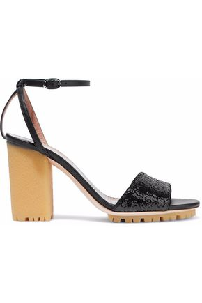 REDValentino Smooth and glittered leather sandals
