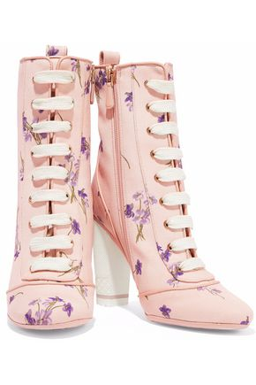 RED(V) Lace-up floral-print canvas ankle boots
