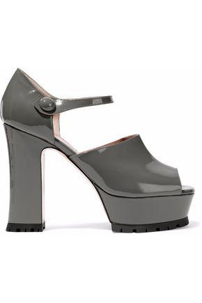 RED(V) Patent-leather platform Mary Jane pumps