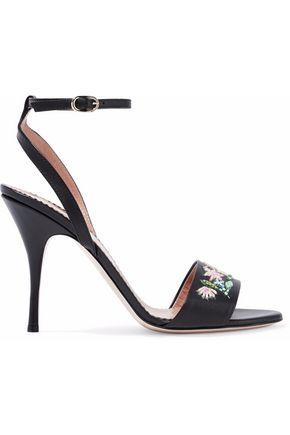 REDValentino Bead-embellished leather sandals