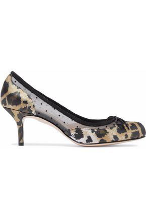 REDValentino Leopard-print satin and point d'esprit pumps