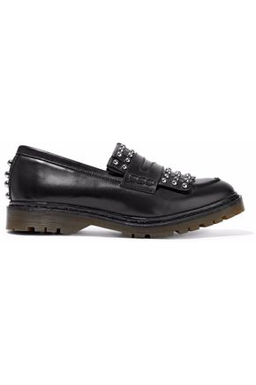 REDValentino Studded fringed leather loafers