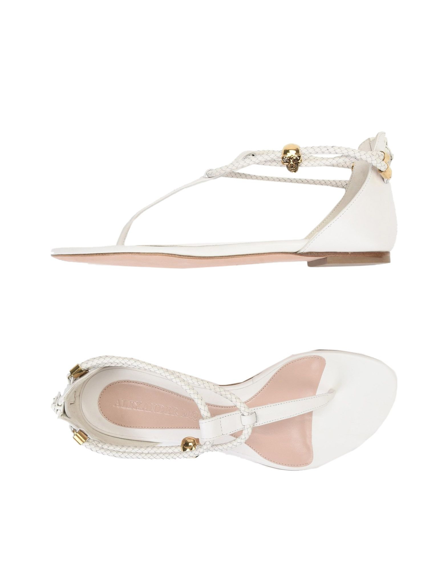 ALEXANDER MCQUEEN Toe strap sandals. Rhinestones Metal Applications Solid color Zip Round toeline Flat Leather lining Leather sole Contains non-textile parts of animal origin. Calfskin