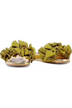 CHARLOTTE OLYMPIA Naia ruffled organza-appliquéd suede and metallic leather slides