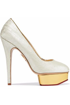 CHARLOTTE OLYMPIA Dolly scalloped leather platform pumps