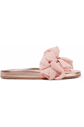 WOMAN NAIA RUFFLED ORGANZA-APPLIQUÉD SUEDE AND METALLIC LEATHER SLIDES PASTEL PINK
