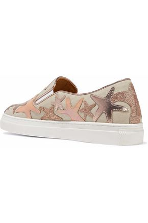 CHARLOTTE OLYMPIA Alex metallic iridescent leather-appliquéd canvas sneakers