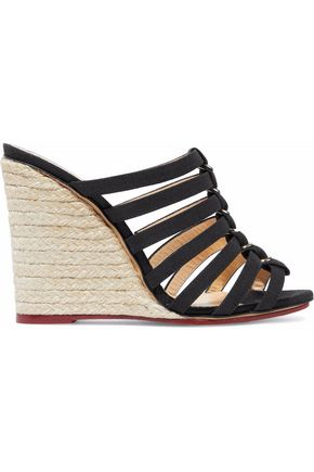 CHARLOTTE OLYMPIA Cutout canvas espadrille wedge mules