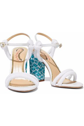 CHARLOTTE OLYMPIA Cordelia bead-embellished leather and terry sandals