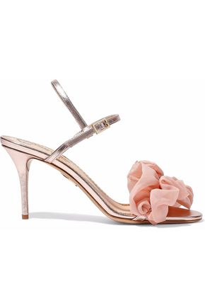 CHARLOTTE OLYMPIA Reia ruffled organza-appliquéd metallic leather sandals