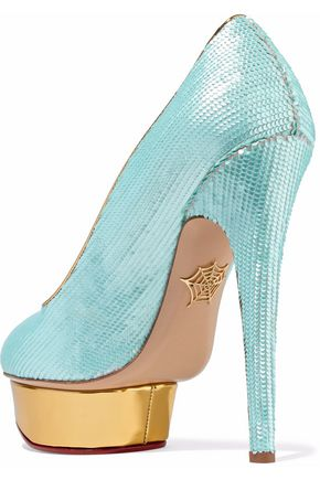 CHARLOTTE OLYMPIA Dolly scalloped metallic leather platform pumps