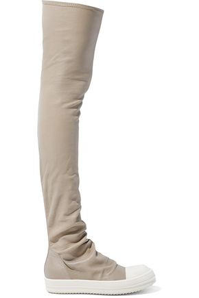 RICK OWENS Stretch-leather platform thigh boots