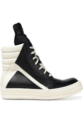 RICK OWENS Two-tone leather high-top sneakers