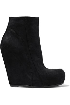 RICK OWENS Nubuck wedge ankle boots