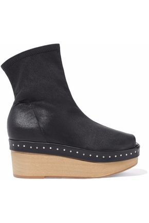 RICK OWENS Studded leather wedge ankle boots