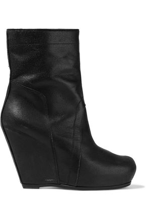 RICK OWENS Brushed-leather wedge ankle boots