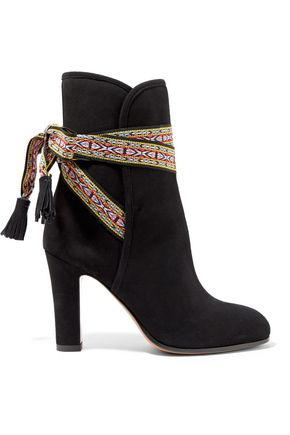ETRO Embroidered-trimmed suede ankle boots