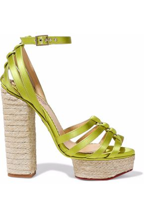 CHARLOTTE OLYMPIA Eyelet-embellished satin espadrille platform sandals