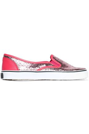 RED(V) Glittered leather sneakers